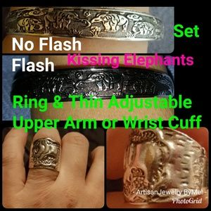 SaleSET Ring&Cuff Thin Kissing Elephants Sz 7 ring